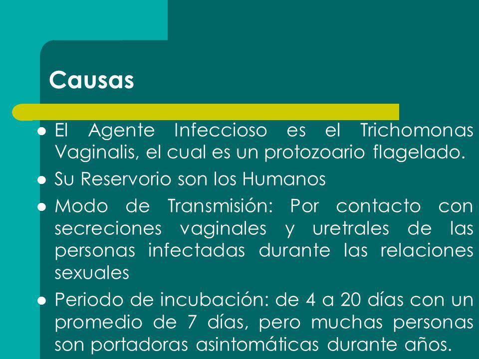 Causas El Agente Infeccioso es el Trichomonas Vaginalis, el cual es un protozoario flagelado. Su Reservorio son los Humanos.