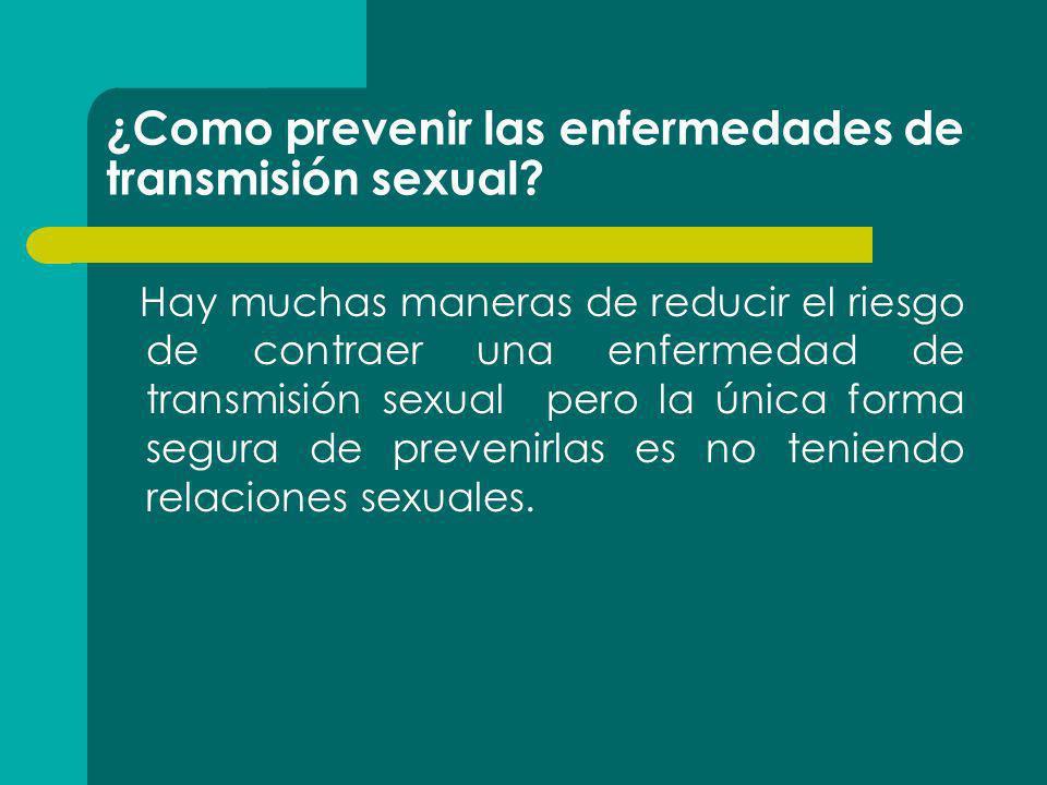 ¿Como prevenir las enfermedades de transmisión sexual