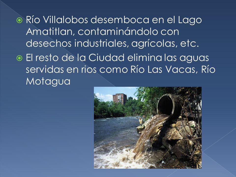 Río Villalobos desemboca en el Lago Amatitlan, contaminándolo con desechos industriales, agrícolas, etc.
