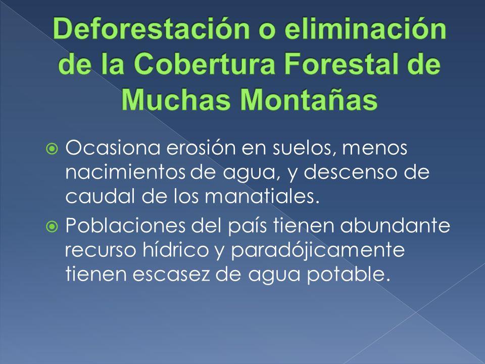 Deforestación o eliminación de la Cobertura Forestal de Muchas Montañas