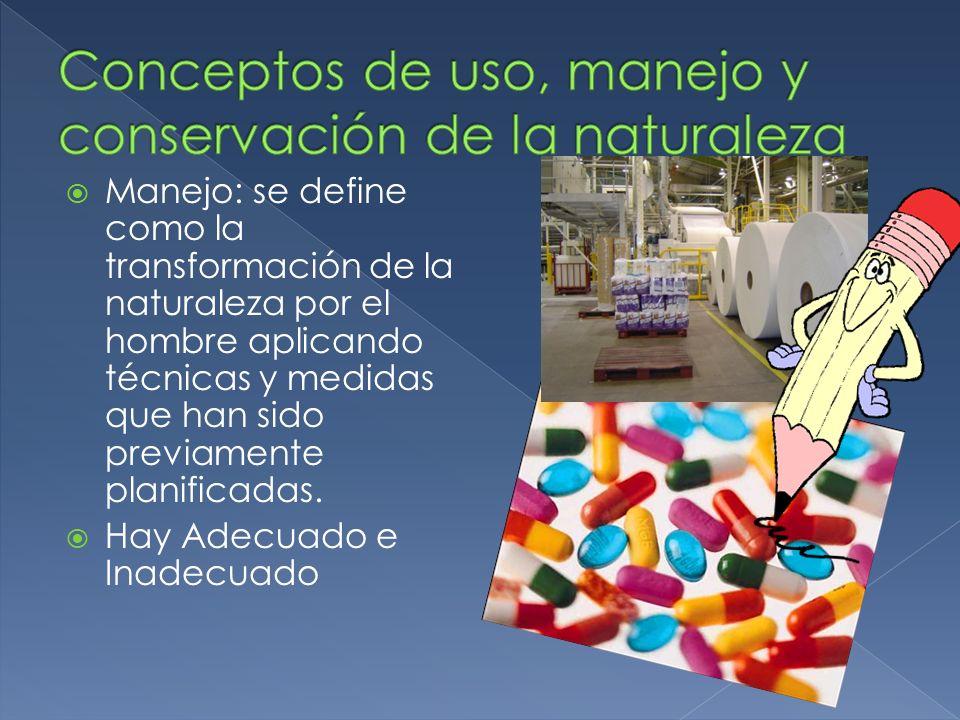 Conceptos de uso, manejo y conservación de la naturaleza