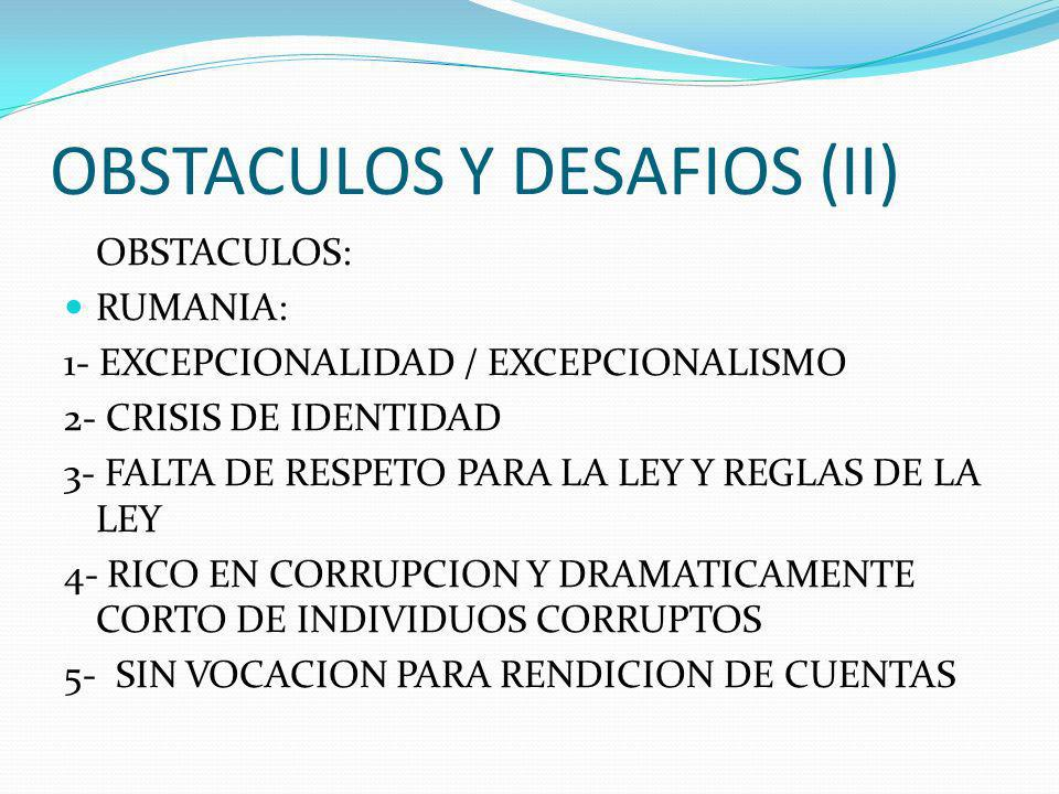 OBSTACULOS Y DESAFIOS (II)
