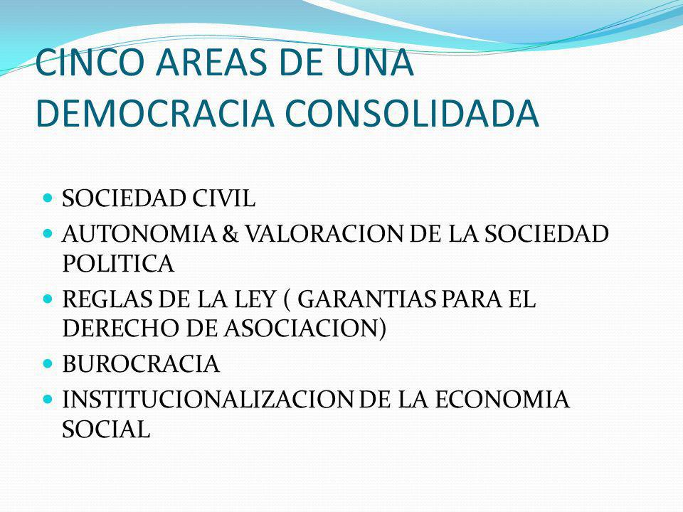 CINCO AREAS DE UNA DEMOCRACIA CONSOLIDADA