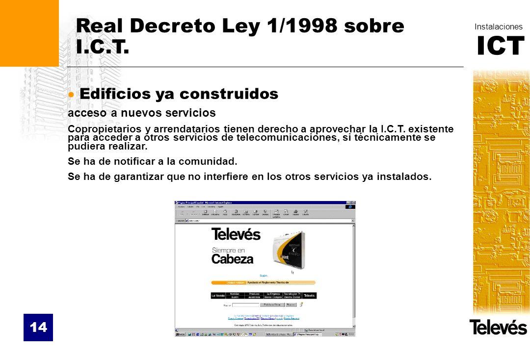 Real Decreto Ley 1/1998 sobre I.C.T.
