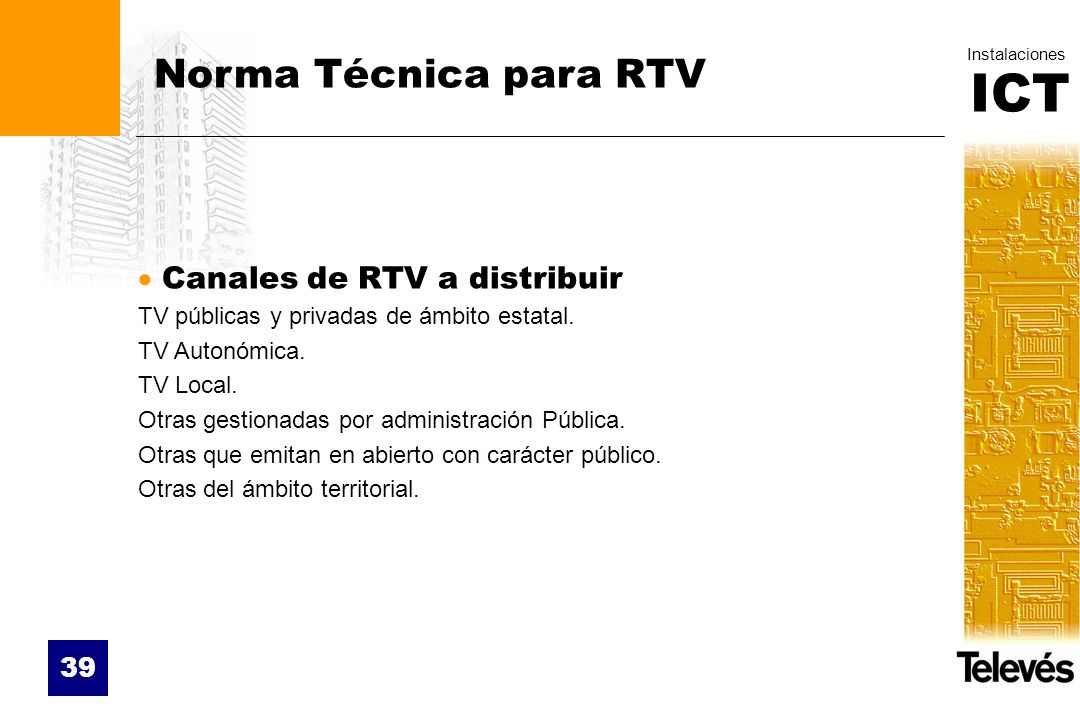 Norma Técnica para RTV Canales de RTV a distribuir