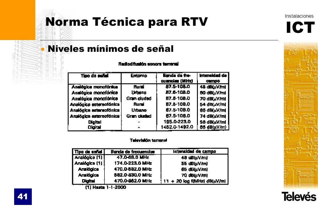 Norma Técnica para RTV Niveles mínimos de señal