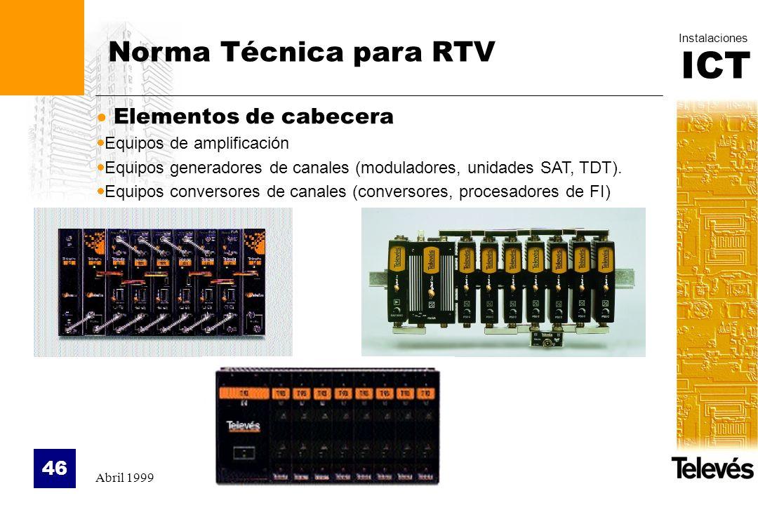 Norma Técnica para RTV Elementos de cabecera Equipos de amplificación