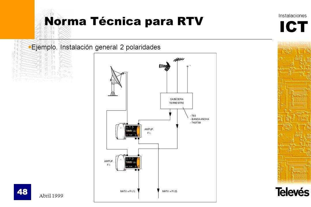 Norma Técnica para RTV Ejemplo. Instalación general 2 polaridades