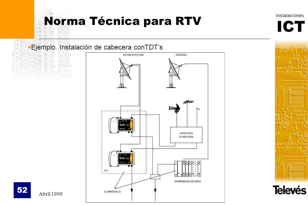 Norma Técnica para RTV Ejemplo. Instalación de cabecera conTDT's
