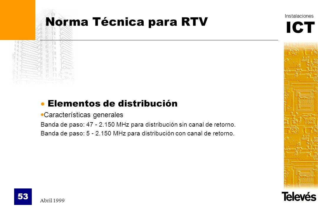 Norma Técnica para RTV Elementos de distribución
