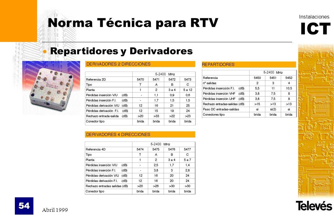 Norma Técnica para RTV Repartidores y Derivadores Abril 1999 5-2400