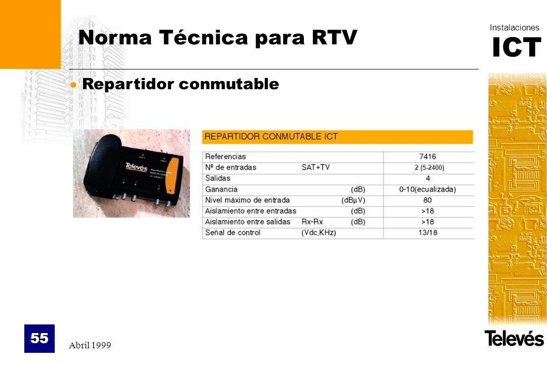 Norma Técnica para RTV Repartidor conmutable 2 (5-2400) Abril 1999