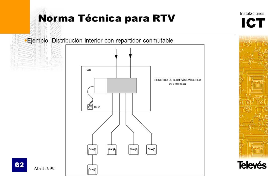Norma Técnica para RTV Ejemplo. Distribución interior con repartidor conmutable Abril 1999