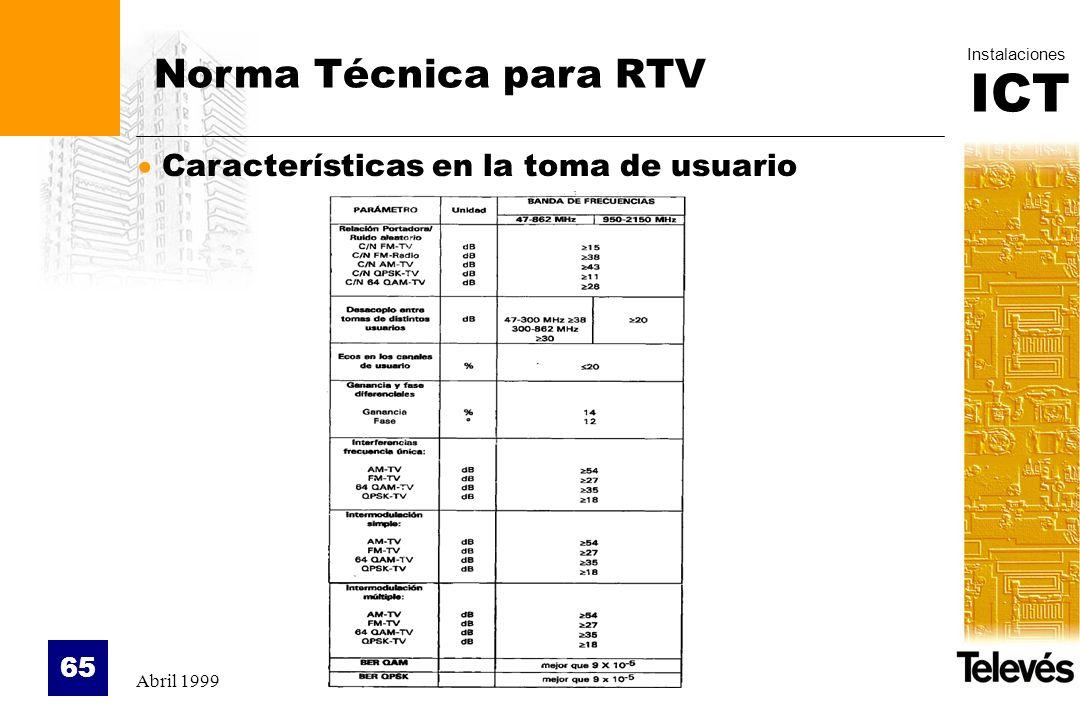 Norma Técnica para RTV Características en la toma de usuario