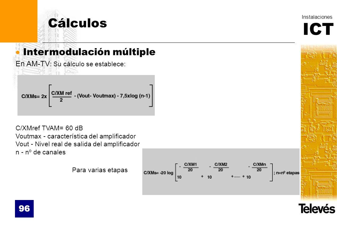 Cálculos Intermodulación múltiple En AM-TV: Su cálculo se establece: