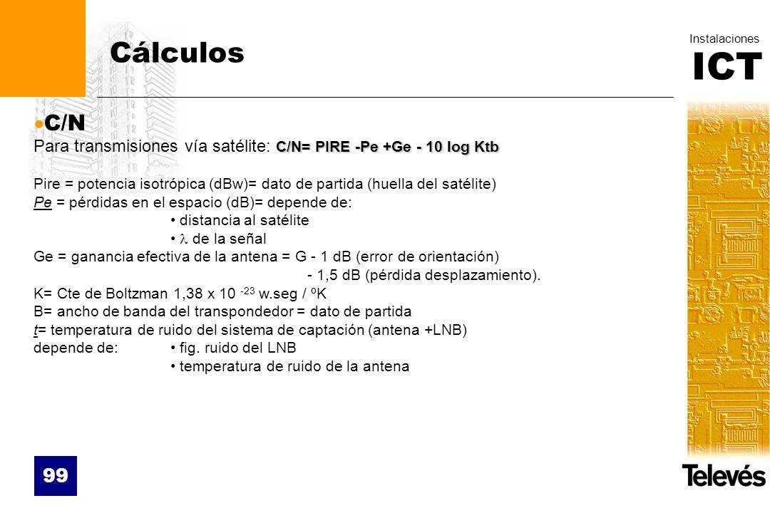 CálculosC/N. Para transmisiones vía satélite: C/N= PIRE -Pe +Ge - 10 log Ktb.