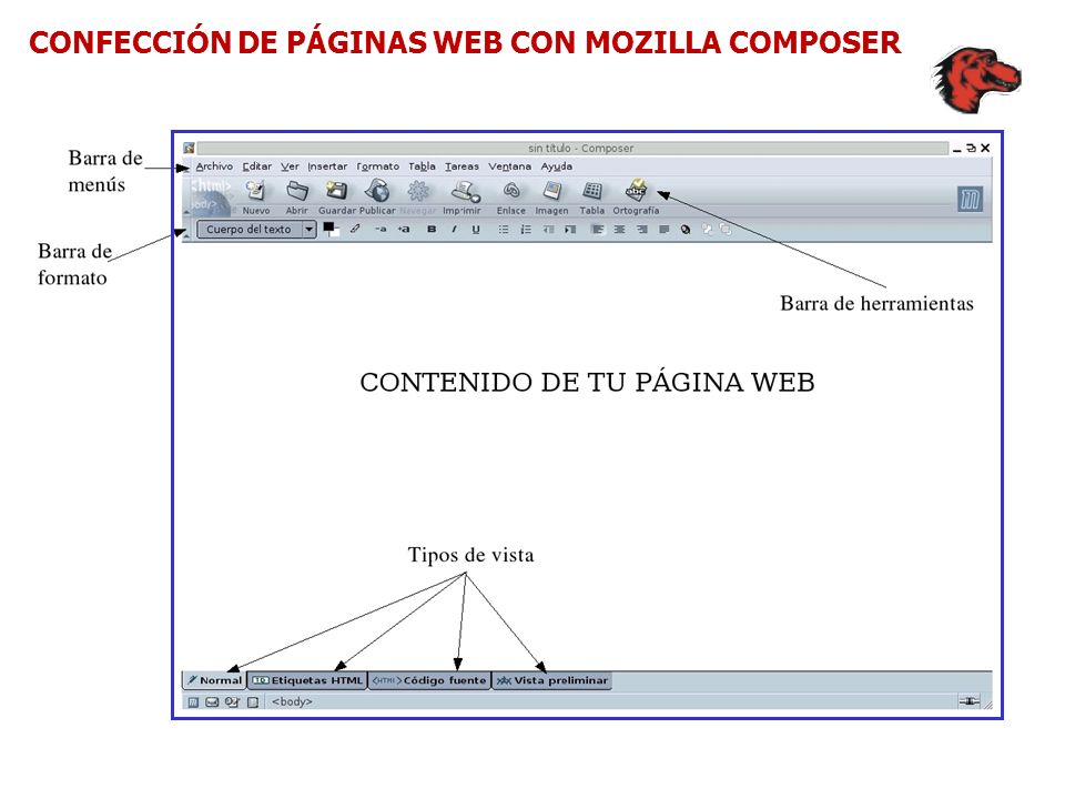 CONFECCIÓN DE PÁGINAS WEB CON MOZILLA COMPOSER