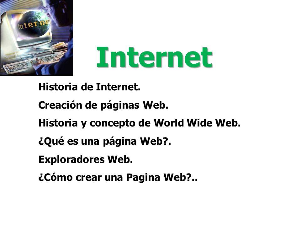 Internet Historia de Internet. Creación de páginas Web.