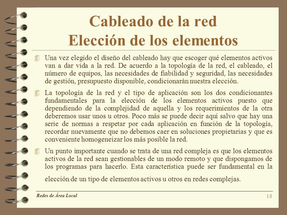 Cableado de la red Elección de los elementos