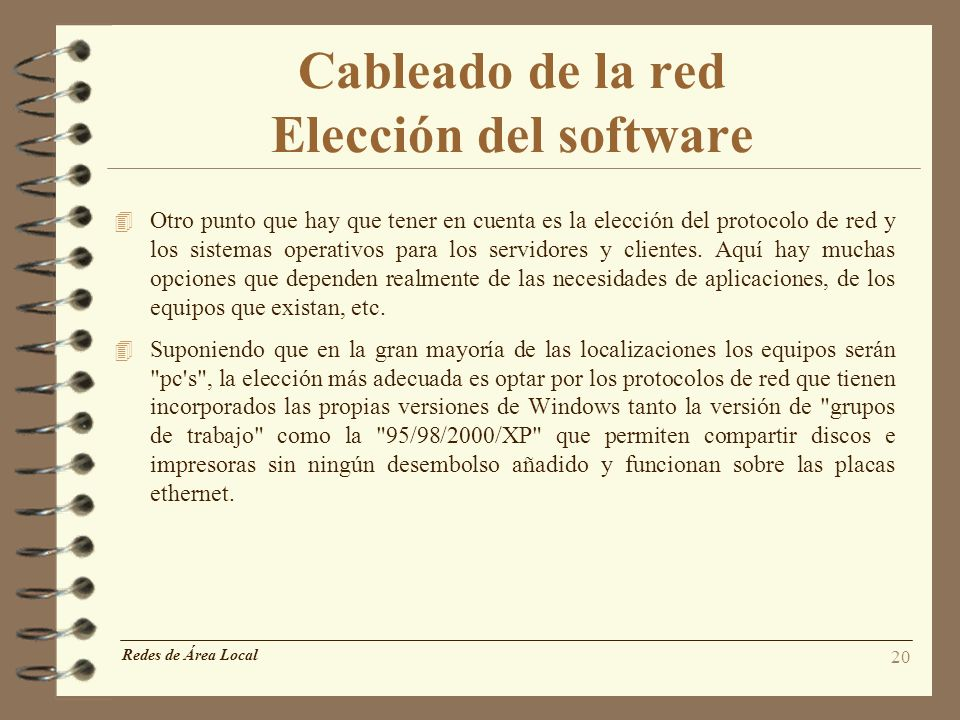 Cableado de la red Elección del software