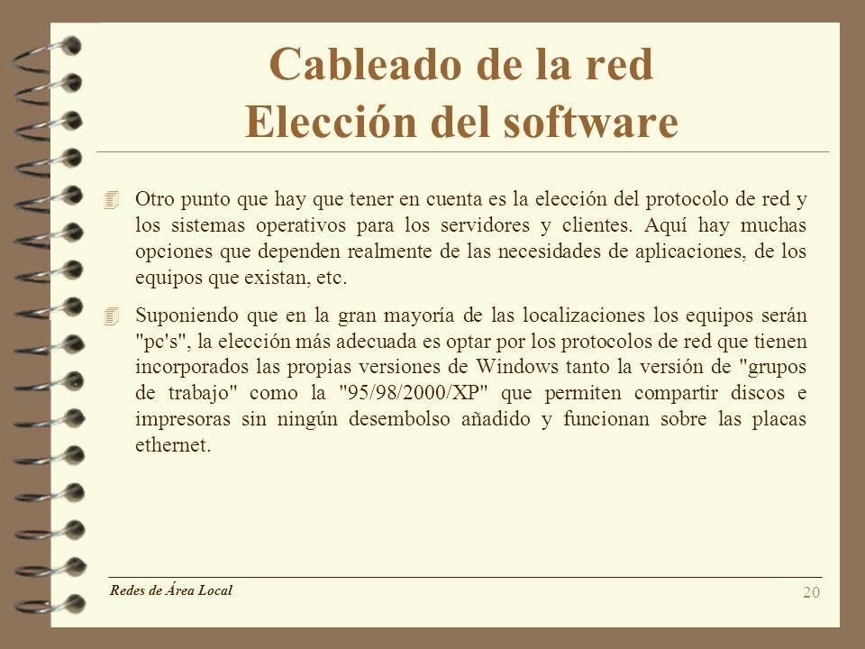 Cableado de la red Elección del software