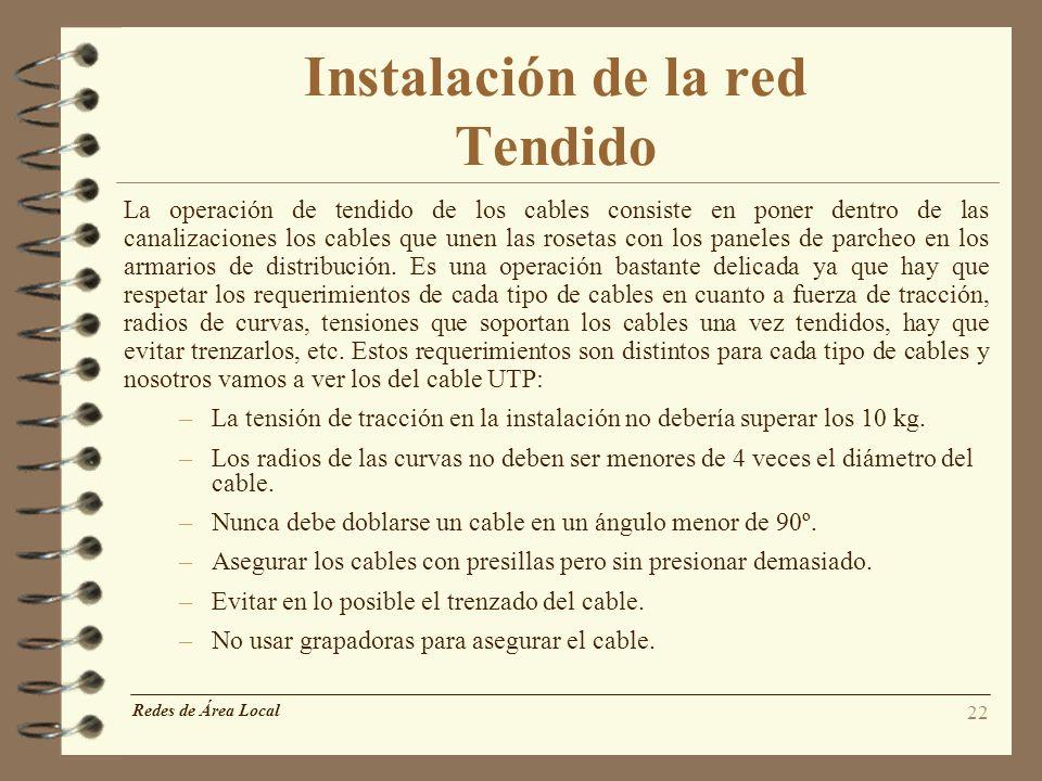 Instalación de la red Tendido