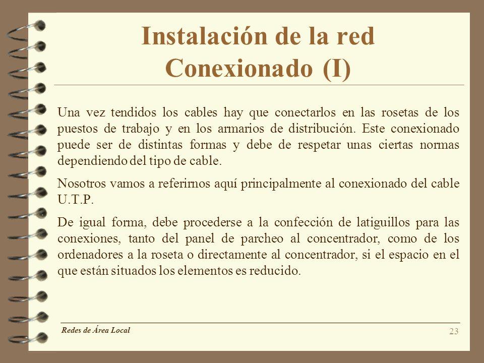 Instalación de la red Conexionado (I)