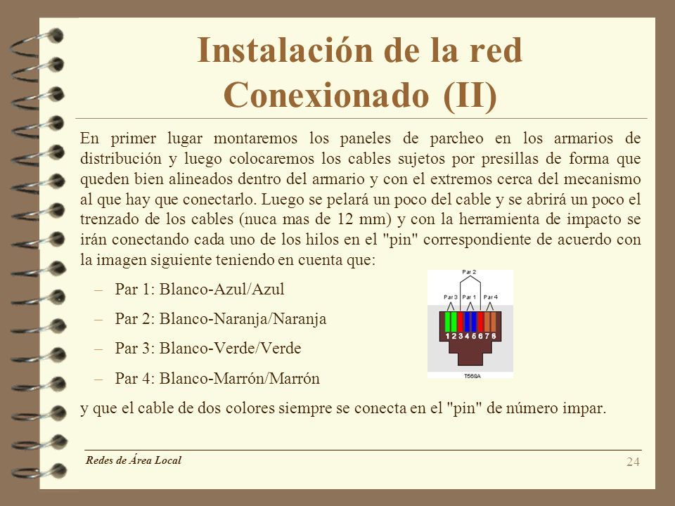 Instalación de la red Conexionado (II)