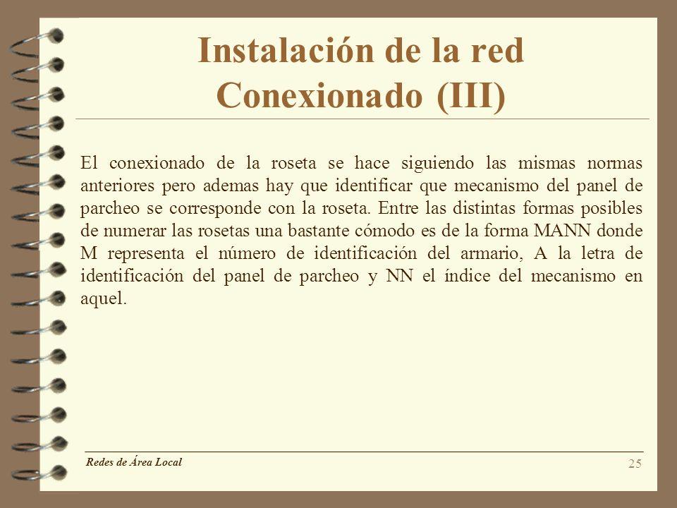 Instalación de la red Conexionado (III)