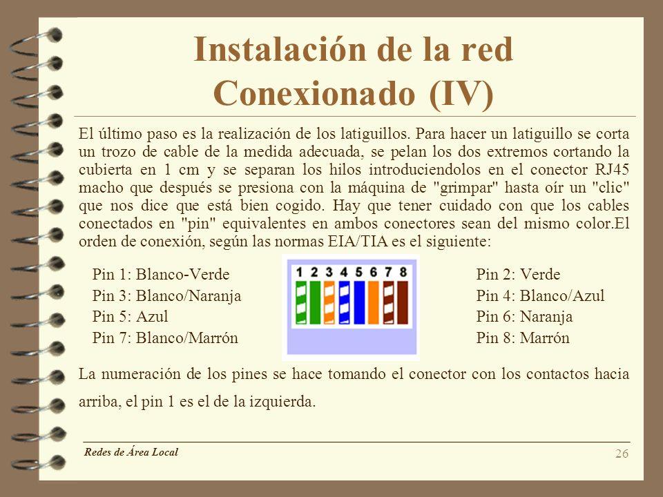 Instalación de la red Conexionado (IV)