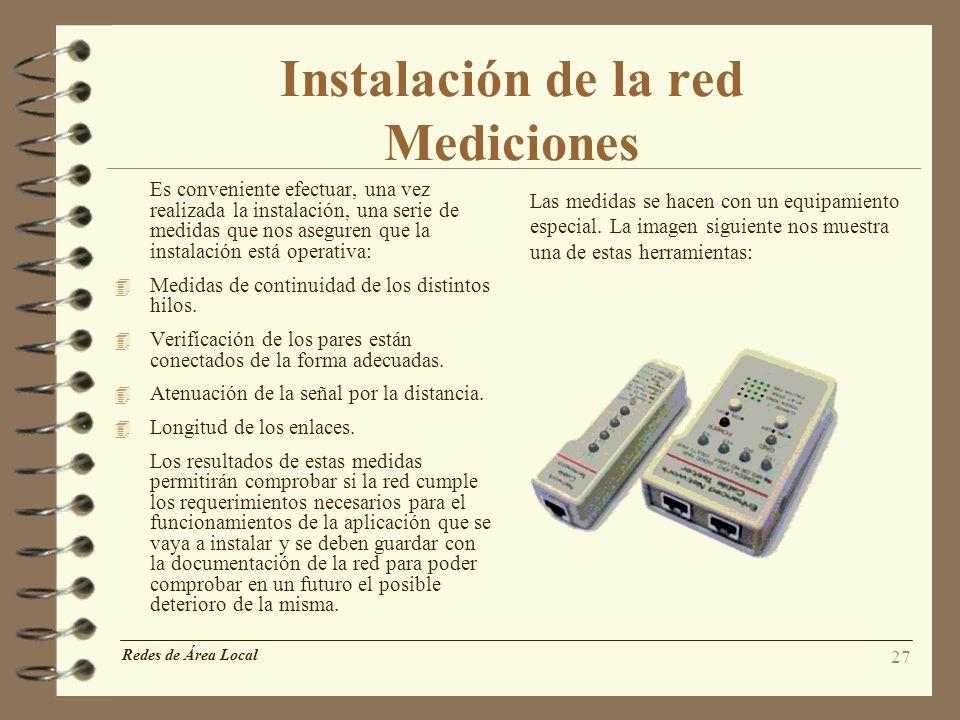 Instalación de la red Mediciones