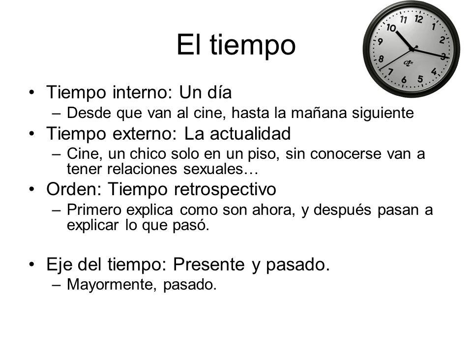 El tiempo Tiempo interno: Un día Tiempo externo: La actualidad