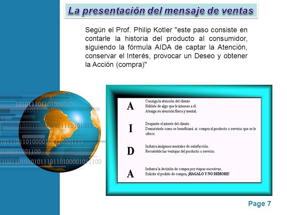 La presentación del mensaje de ventas