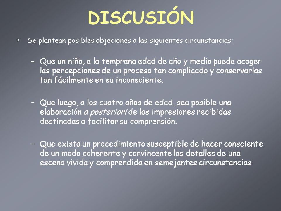 DISCUSIÓN Se plantean posibles objeciones a las siguientes circunstancias: