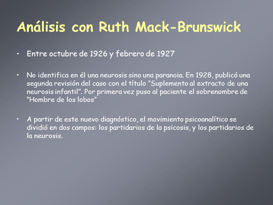 Análisis con Ruth Mack-Brunswick
