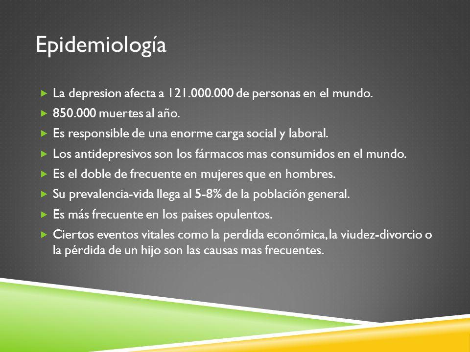 Epidemiología La depresion afecta a 121.000.000 de personas en el mundo. 850.000 muertes al año.