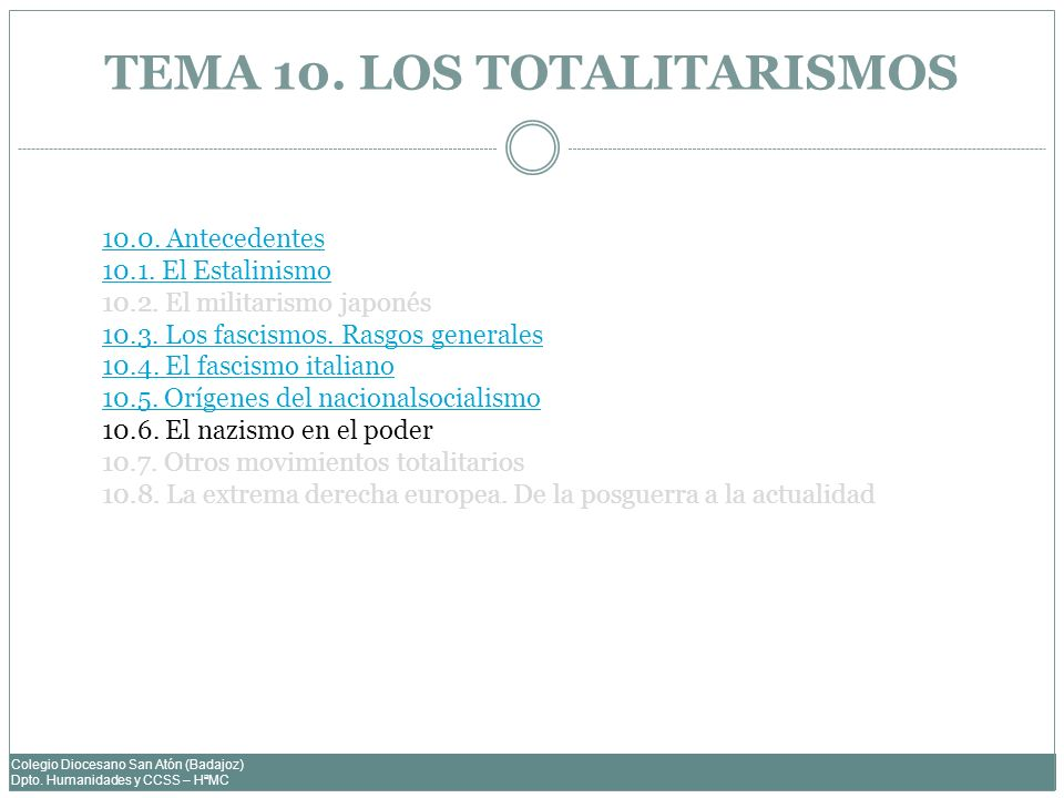 TEMA 10. LOS TOTALITARISMOS