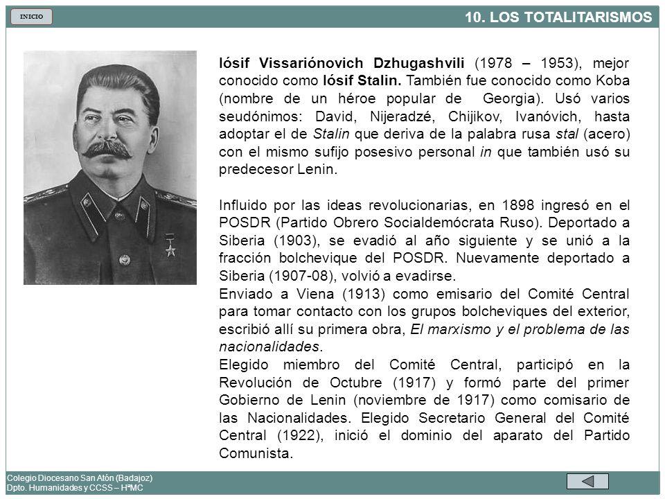 Iósif Vissariónovich Dzhugashvili (1978 – 1953), mejor conocido como Iósif Stalin. También fue conocido como Koba (nombre de un héroe popular de Georgia). Usó varios seudónimos: David, Nijeradzé, Chijikov, Ivanóvich, hasta adoptar el de Stalin que deriva de la palabra rusa stal (acero) con el mismo sufijo posesivo personal in que también usó su predecesor Lenin.