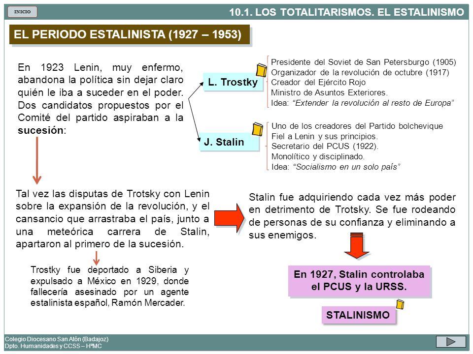 En 1927, Stalin controlaba el PCUS y la URSS.