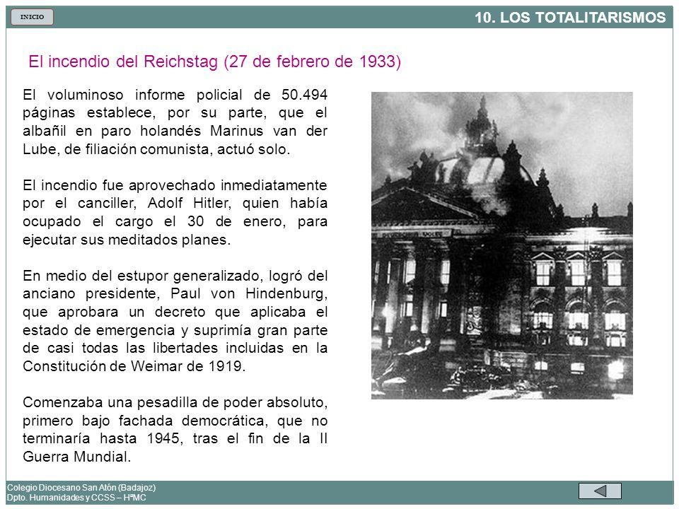 El incendio del Reichstag (27 de febrero de 1933)