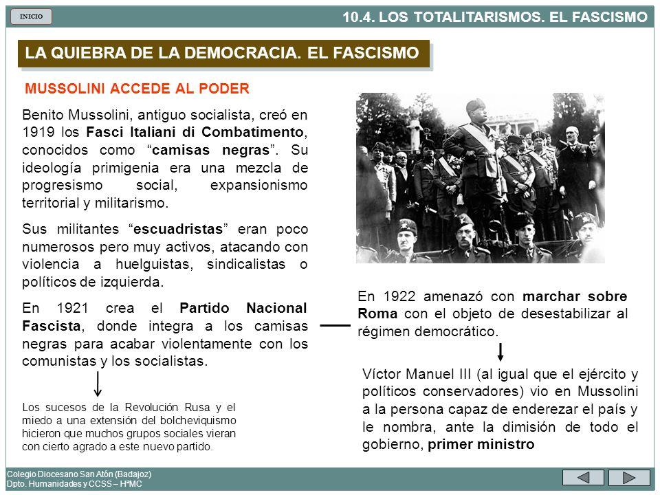LA QUIEBRA DE LA DEMOCRACIA. EL FASCISMO