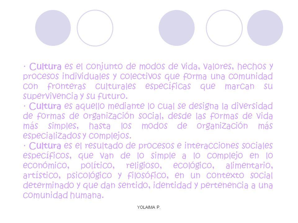 · Cultura es el conjunto de modos de vida, valores, hechos y procesos individuales y colectivos que forma una comunidad con fronteras culturales específicas que marcan su supervivencia y su futuro.