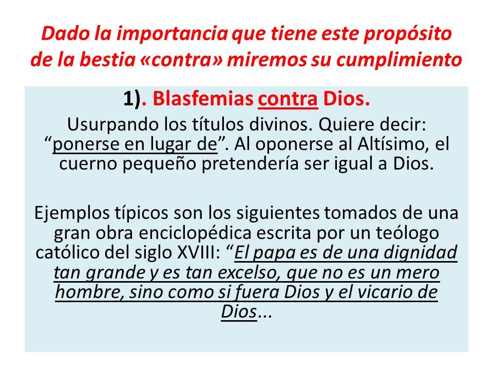 1). Blasfemias contra Dios.