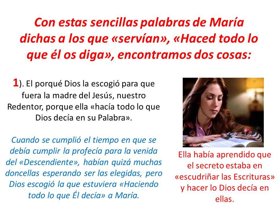 Con estas sencillas palabras de María dichas a los que «servían», «Haced todo lo que él os diga», encontramos dos cosas: