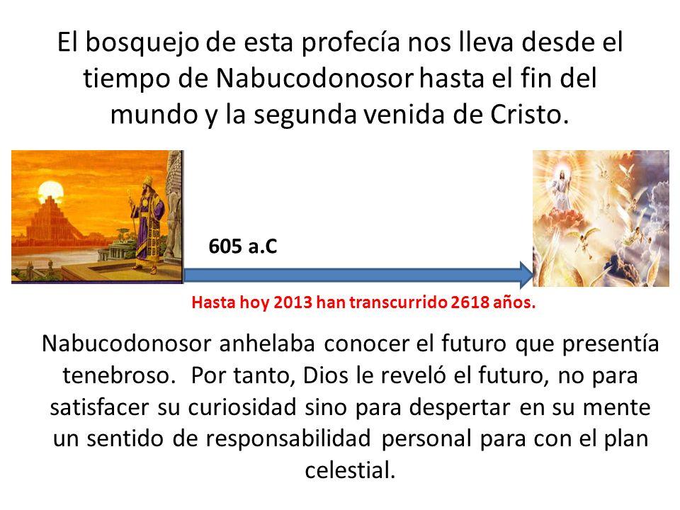 El bosquejo de esta profecía nos lleva desde el tiempo de Nabucodonosor hasta el fin del mundo y la segunda venida de Cristo.