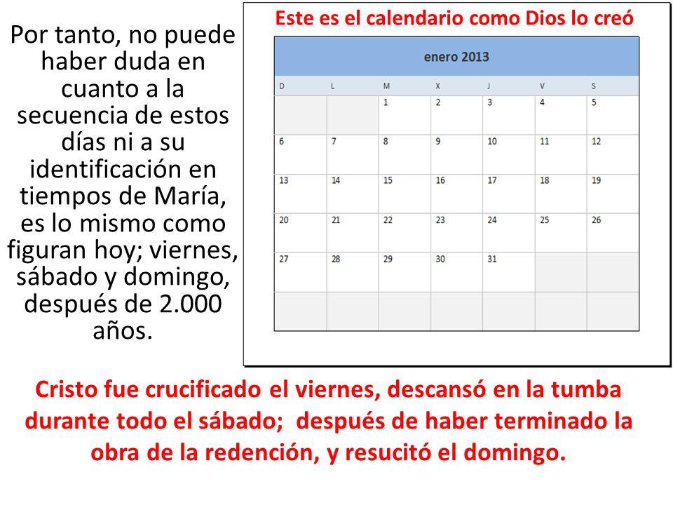 Este es el calendario como Dios lo creó