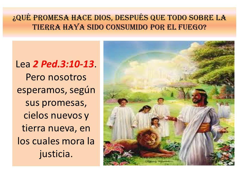 ¿Qué promesa hace Dios, después que todo sobre la tierra haya sido consumido por el fuego