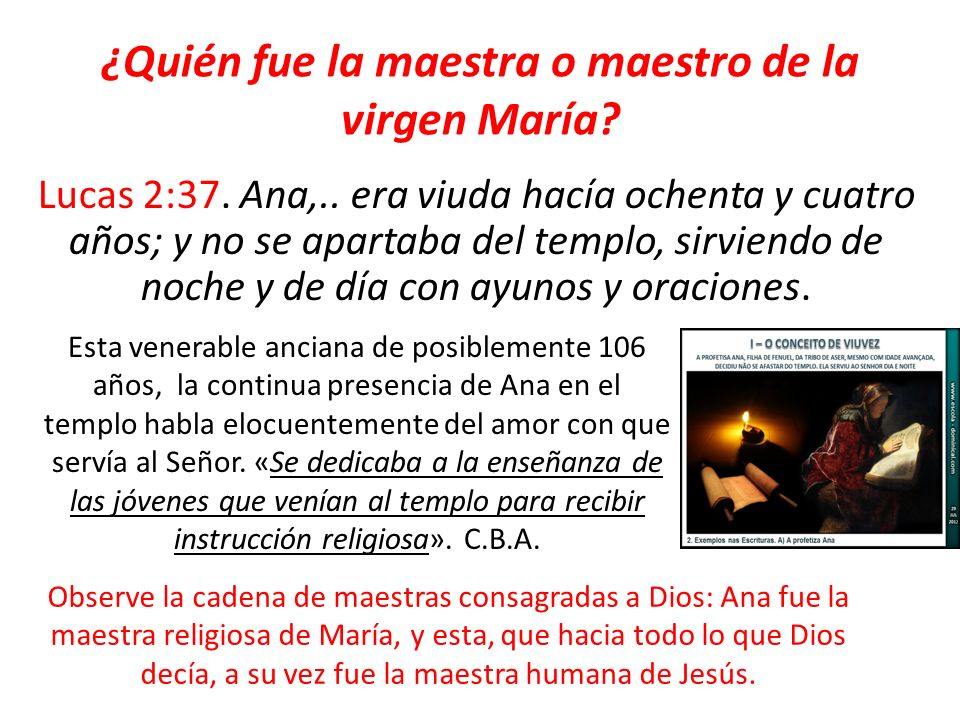 ¿Quién fue la maestra o maestro de la virgen María