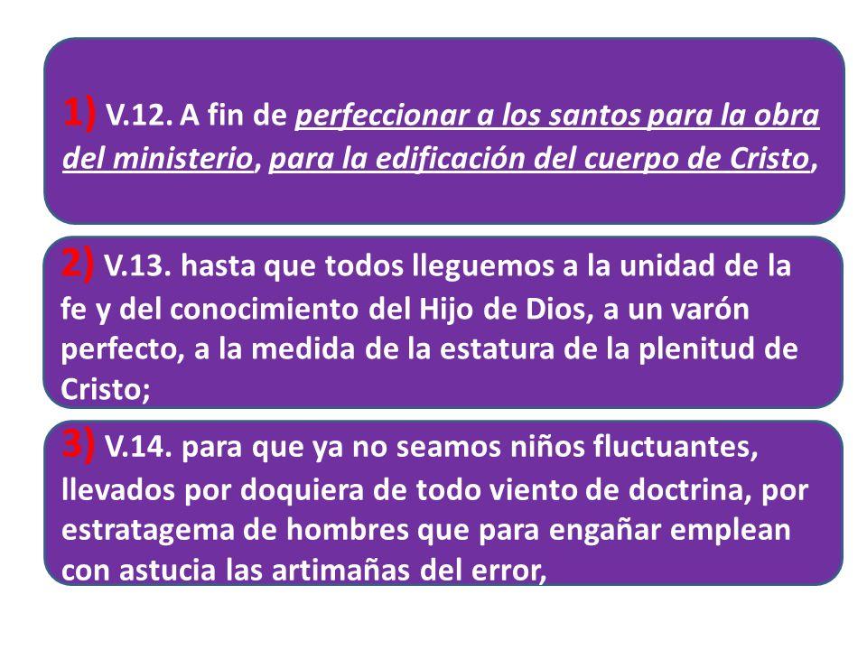 1) V.12. A fin de perfeccionar a los santos para la obra del ministerio, para la edificación del cuerpo de Cristo,