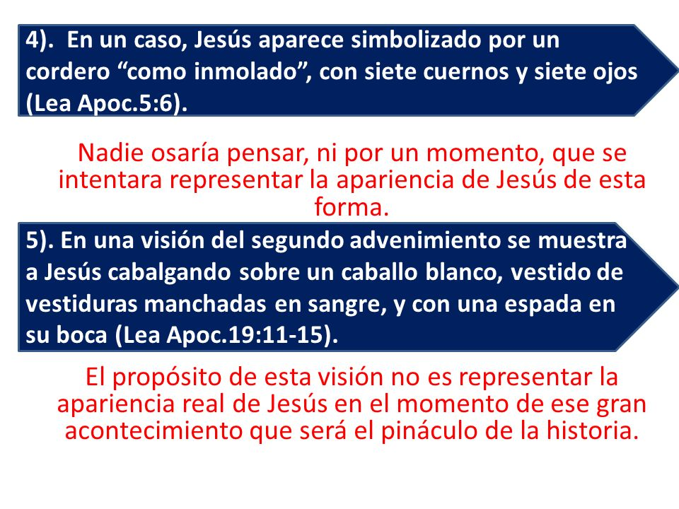 4). En un caso, Jesús aparece simbolizado por un cordero como inmolado , con siete cuernos y siete ojos (Lea Apoc.5:6).